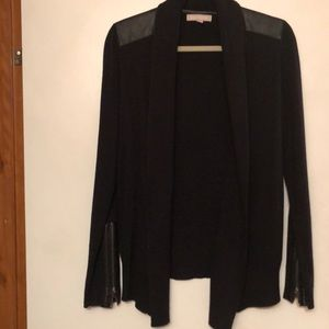 Black Banana Republic Cardigan with leather detail